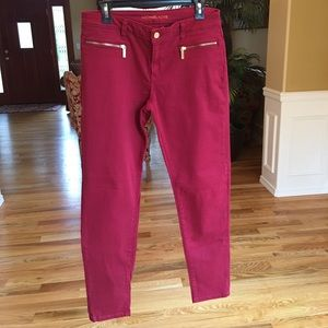 Michael Kors Red Zip-Pocket Izzy Slim Skinny Jeans